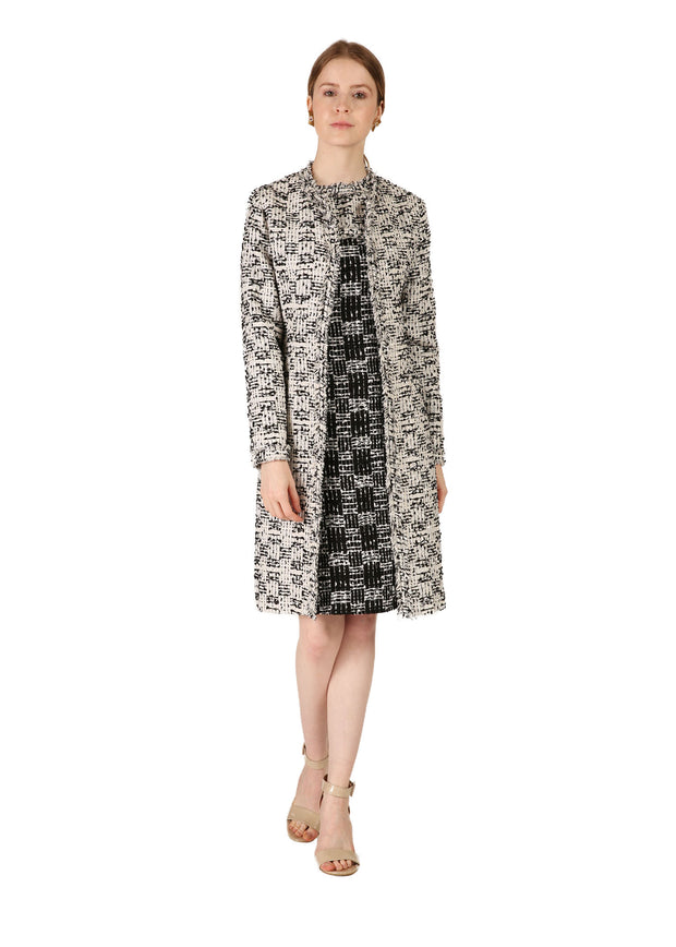 Black & White Patterned Tweed Coat