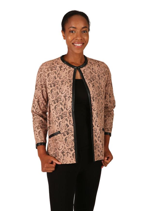 Camel Lace Leather Jacket