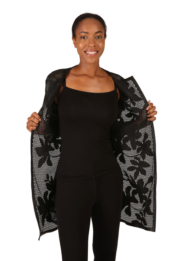 Black Appliqué Flower Jacket
