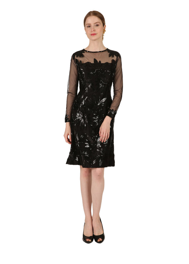 Black Sequin Flower Dress