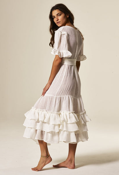 JANUARY WHITE GAUZE RUFFLE DRESS