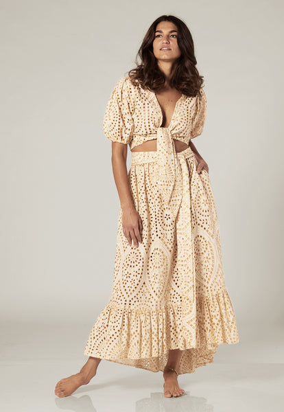 NICOLE NATURAL/GOLD EYELET SKIRT