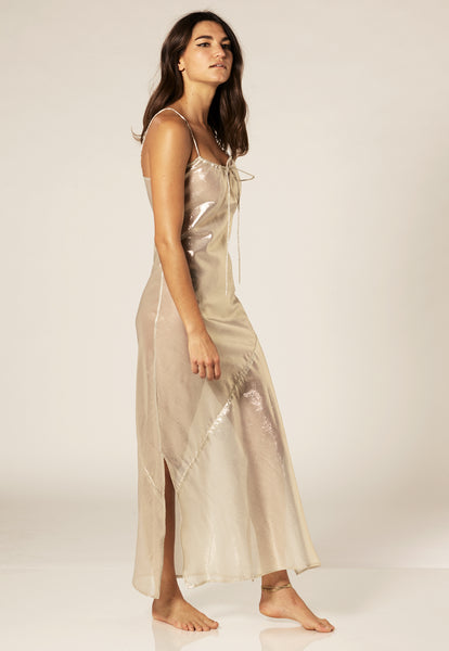 KATE WHITE GOLD METALLIC SLIP DRESS