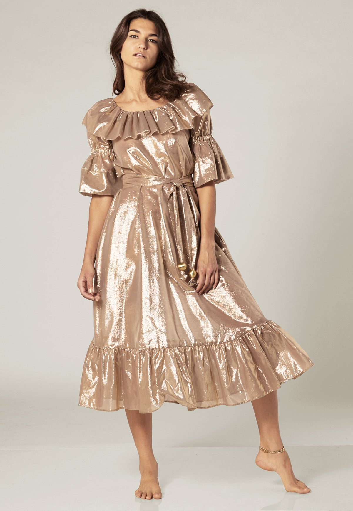 NATASHA GOLD METALLIC DRESS