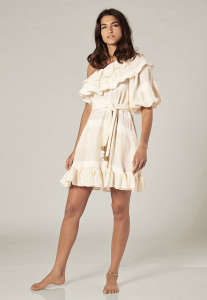 ARDEN CREAM COTTON MINI DRESS