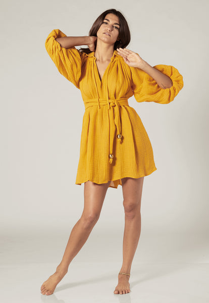 POET SAFFRON GAUZE MINI DRESS