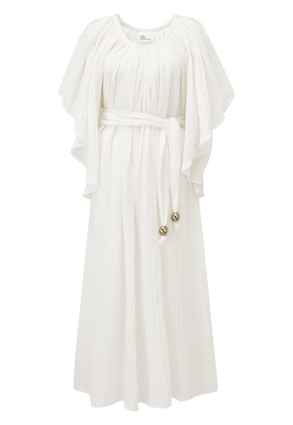 ANGEL SLEEVE WHITE GAUZE DRESS