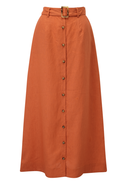 BELTED TERRACOTTA LINEN MAXI SKIRT