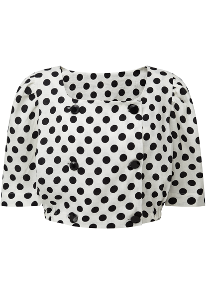 DIANA BLACK POLKA DOT  LINEN TOP