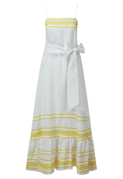 RIC RAC YELLOW/WHITE LINEN SLIP DRESS