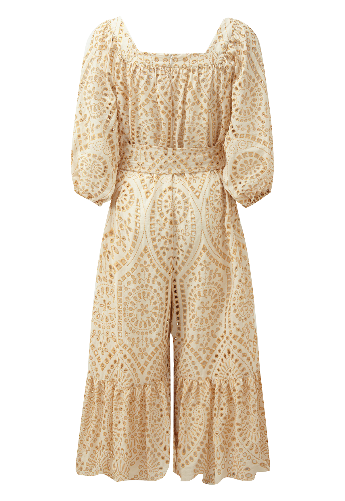 LAURE NATURAL AND GOLD EYELET JUMPSUIT