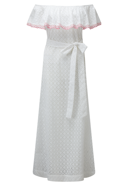 MIRA FLOUNCE RIC RAC EYELET DRESS