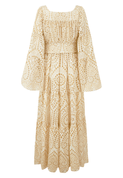 PEASANT NATURAL/GOLD EYELET DRESS