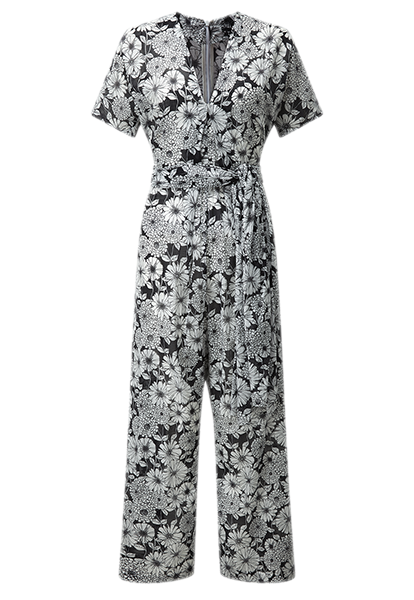 ROSETTA BLACK FLORAL COTTON  JUMPSUIT