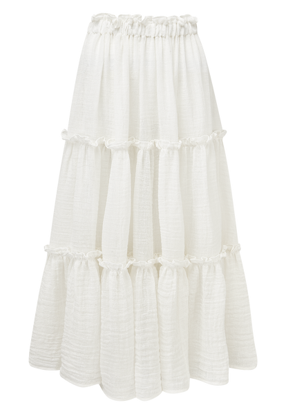 WHITE GAUZE RUFFLE PEASANT SKIRT