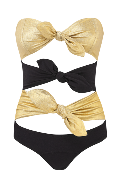 TRIPLE POPPY GOLD CREPE MAILLOT