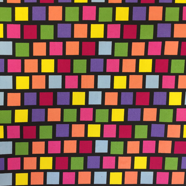 100% Cotton Poplin - Disco Cubes