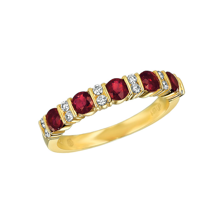 #ALACARTEBRIDAL GK YELLOW GOLD, RUBY AND DIAMOND WOMEN'S PART WAY ETERNITY BAND