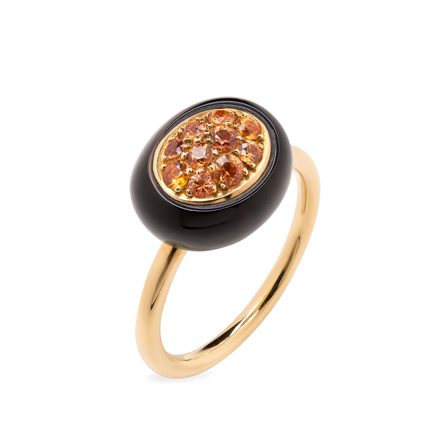 Mini Galet Collection Smoky Quartz & Orange Sapphires Ring