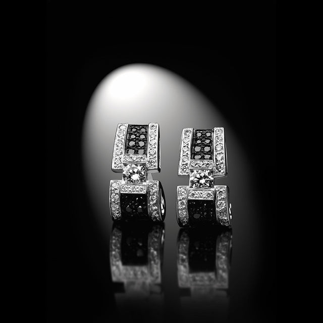 Women's Collection Earrings 'BlackLight Sparkle', White Gold