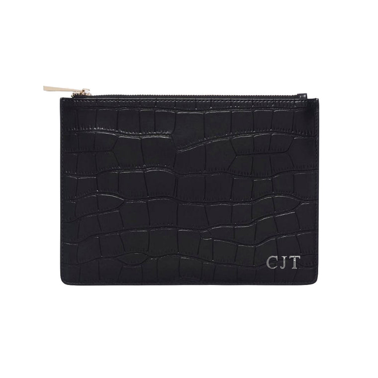 Black Mock Croc Print Leather Clutch | Pouch Bag