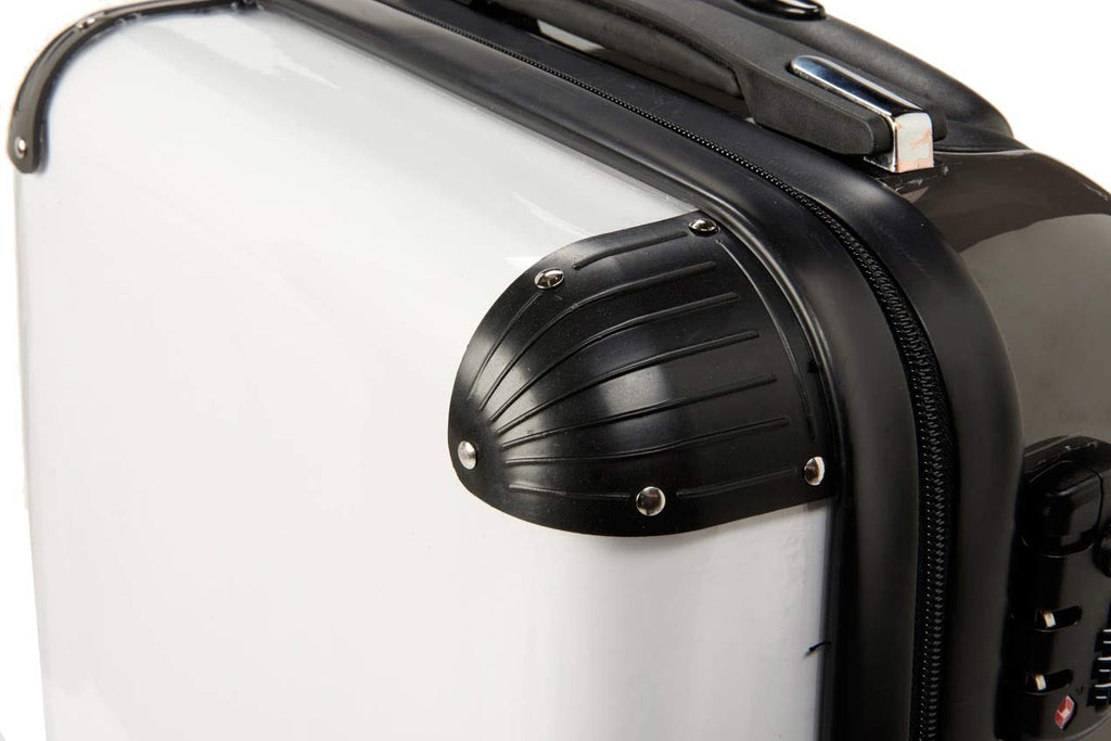 Personalised White Pinstripe Initial Suitcase