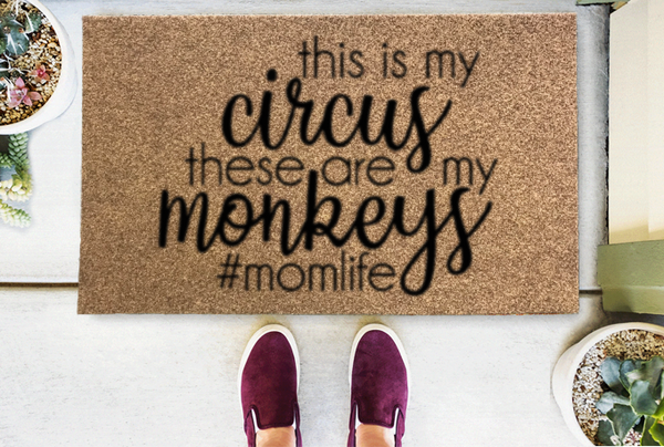 Circus Monkeys Coir Doormat Funny Mat Classic and Duracoir - The Personalized Doormats Company