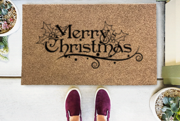 Merry Christmas Mistletoe Coir Doormat-Funny Mat Classic and Duracoir-The Personalized Doormats Company