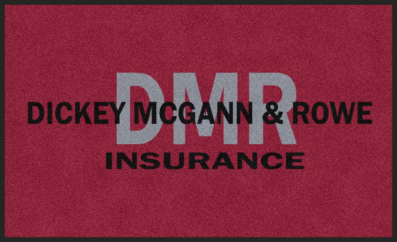 Dickey McGann & Rowe Insurance 3 X 5 Rubber Backed Carpeted HD - The Personalized Doormats Company