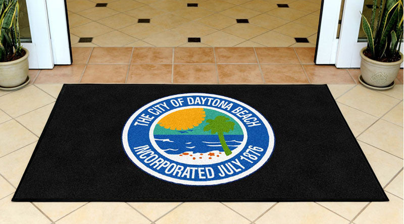 CITY OF DAYTONA BEACH 3 X 5 Rubber Backed Carpeted HD - The Personalized Doormats Company