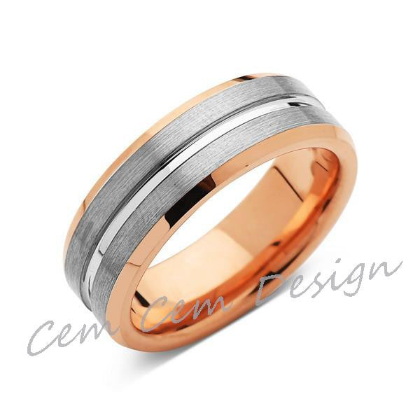 8mm,New,Unique,Rose Gold, Brushed Gray,Tungsten Ring,Mens Wedding Band,Comfort Fit - LUXURY BANDS LA