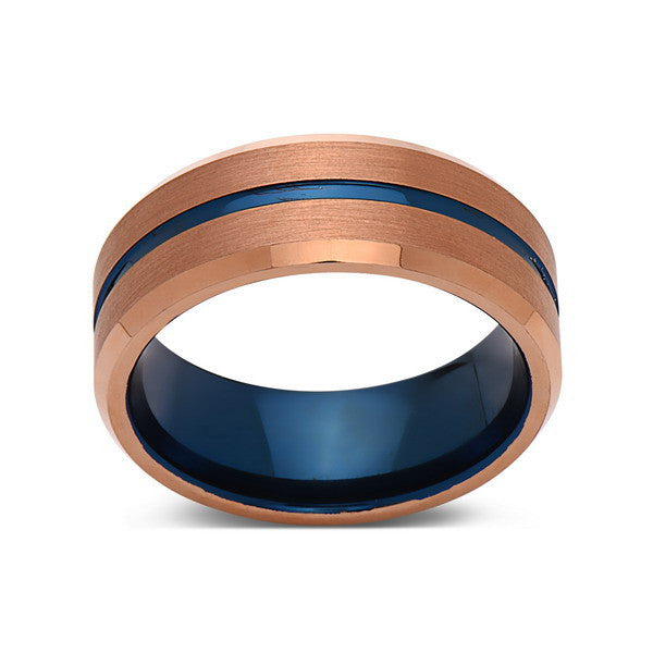 Blue Tungsten Wedding Band - Rose Gold Tungsten Ring - 8mm- Mens Ring - Tungsten Carbide - Engagement Band - Comfort Fit - LUXURY BANDS LA