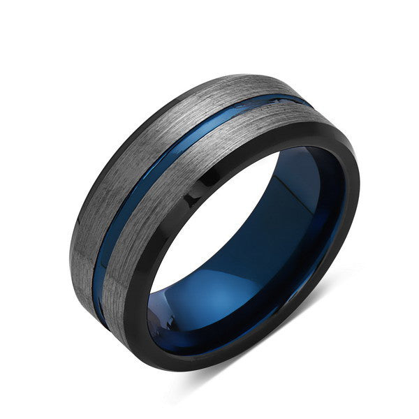 Blue Tungsten Wedding Band - Gray Brushed Tungsten Ring - 8mm - Mens Ring - Tungsten Carbide - Engagement Band - Comfort Fit - LUXURY BANDS LA