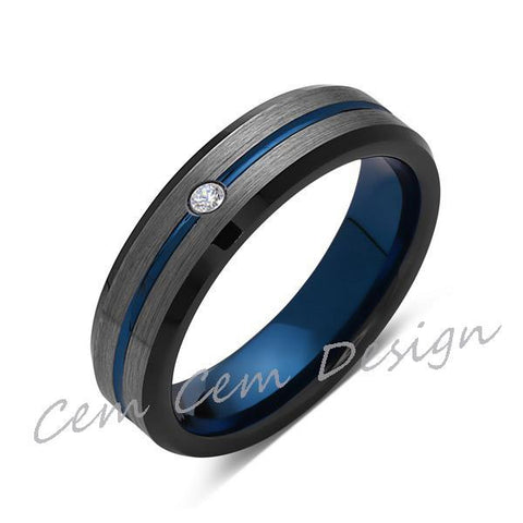 6mm,Diamond,Brushed Gun Metal,Gray and Black,Blue Tungsten Ring,Mens Wedding Band,Comfort Fit - LUXURY BANDS LA