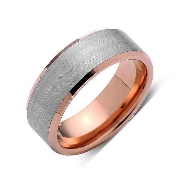 Rose Gold Tungsten Wedding Band - Gray Brushed Tungsten Ring - 8mm - Tungsten Carbide - Mens Band - Engagement Band - Comfort Fit - LUXURY BANDS LA