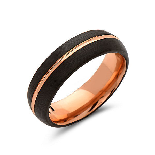 Rose Gold Tungsten Wedding Band - Black - Rose Groove Brushed Ring - 6mm Dome Ring - Unique Engagment Band - Comfor Fit - LUXURY BANDS LA