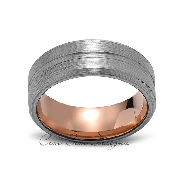 Rose Gold Tungsten Wedding Band - Gray Brushed Ring - 8mm Ring - Unique Engagment Band - Comfor Fit - LUXURY BANDS LA