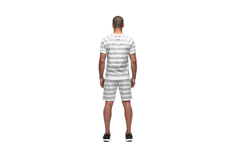 KNIT STRIPED TERRY SHORT SLEEVE REVERSIBLE CREW - RC-1110