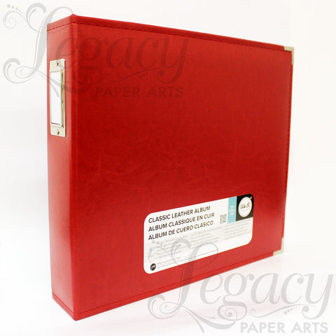 "12""x 12"" 3-Ring Classic Leather Album Red"