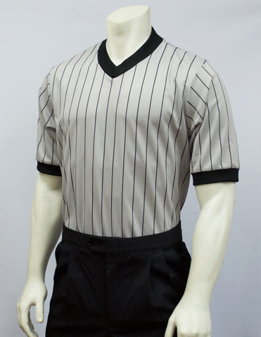 BKS204-Smitty Grey Elite Perfomance Interlock V-Neck Shirt w/ Black Pinstripes