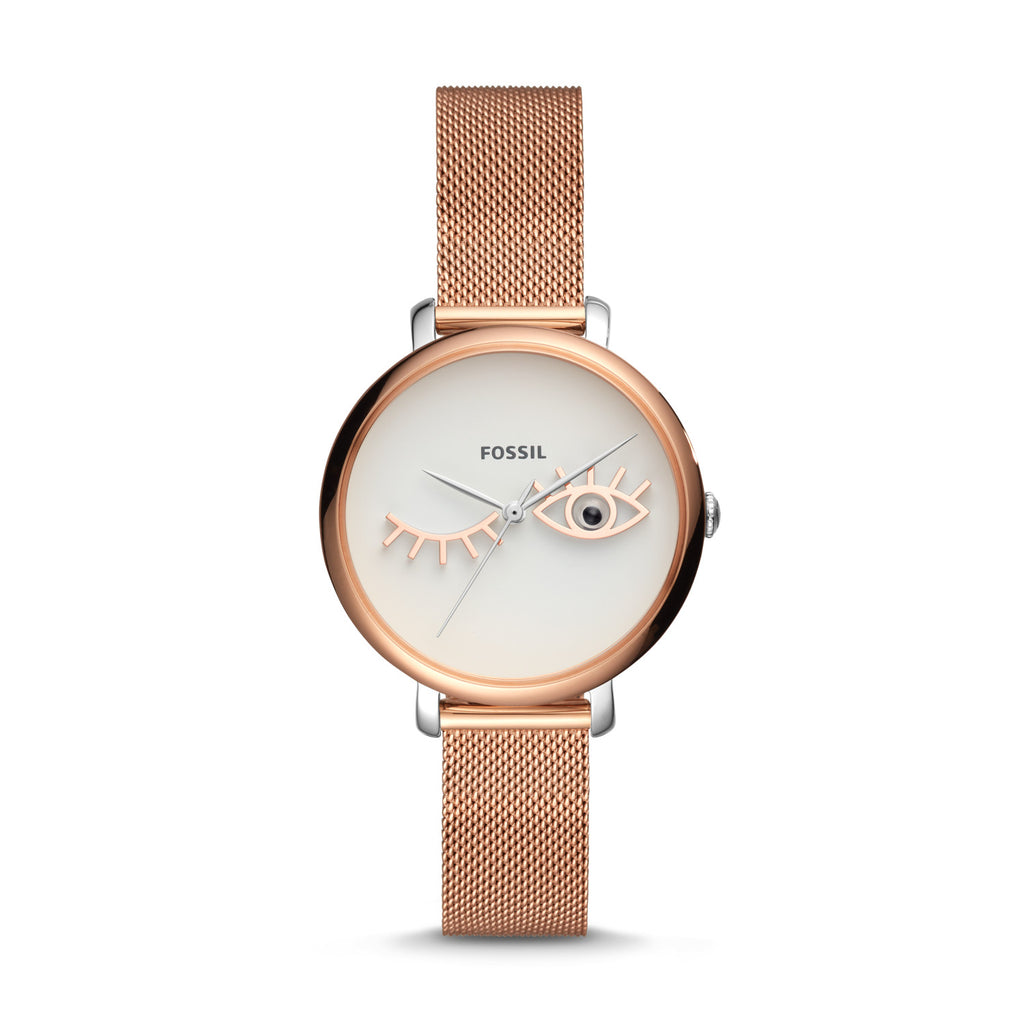 Fossil JACQUELINE WINK EYE THREE-HAND ROSE GOLD-TONE STAINLESS STEEL WATCH