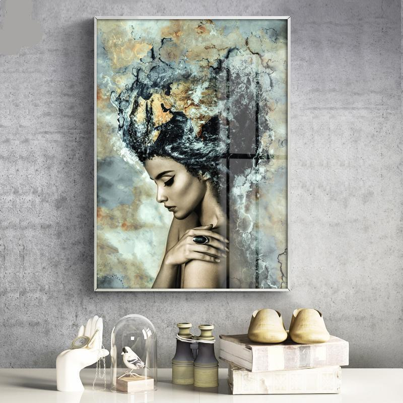 Abstract Woman Profile In Copper Wall Art Canvas - Nice & Cool