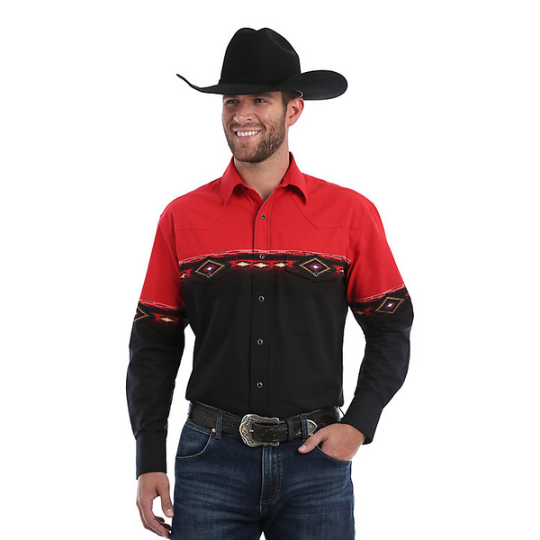 Wrangler Checotah Long Sleeve, Red