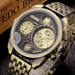 Luxury Gold Black Watches Men Big Face Full Steel Antique Golden Watches-watches-StyloMylo World