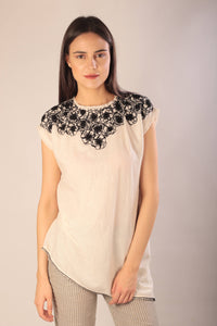 Josie top hand embroidered khadi cotton