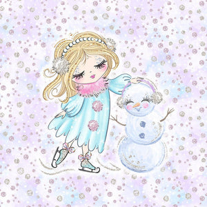Sweatshirt Knit Panel - Winter Girl and a Snowman-Jelly Fabrics