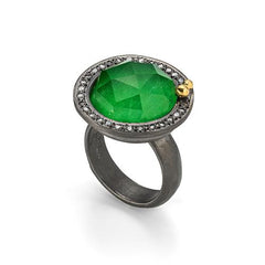 Doublet jade, quartz & rose cut diamond Ring