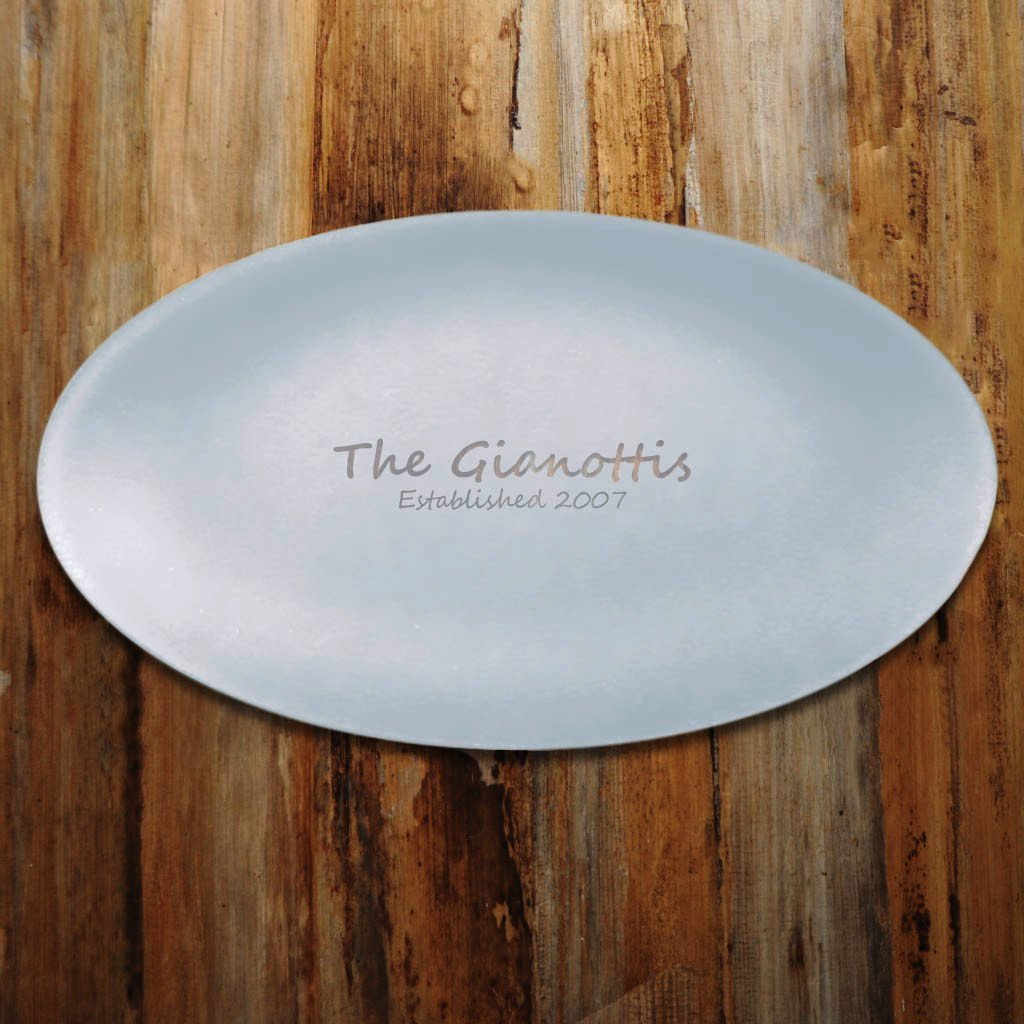 "Engraved 12"" x 19"" Oval SeaGlass Platter"