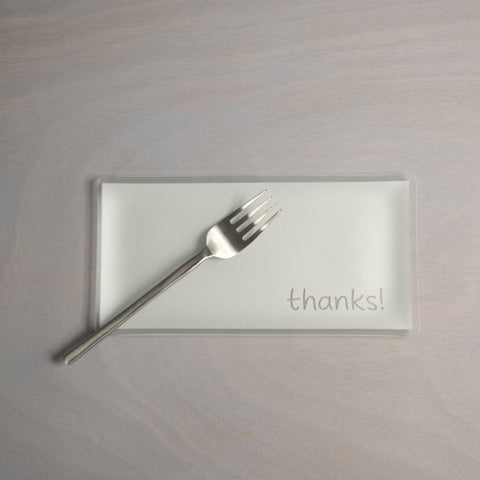 "5"" x 10"" thanks! Pearl Plate"