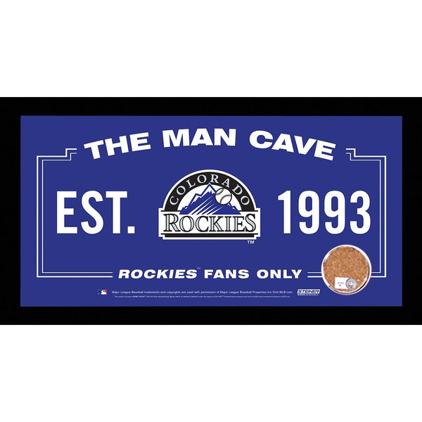 Colorado Rockies Man Cave Sign 6x12 Framed Photo With Authentic Game-Used Dirt Capsule (MLB Auth)